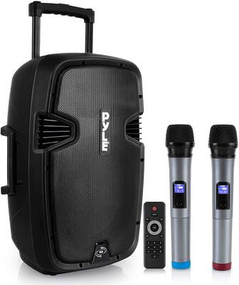 1. Pyle 1600W Easy-to-Carry Rechargeable Battery USB, Wheels, MP3 & RCA Portable Karaoke Speaker