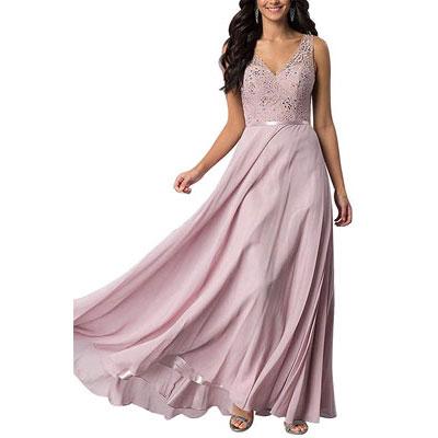 #8. Lace Prom Long Chiffon A-line Long Bridesmaid Dress