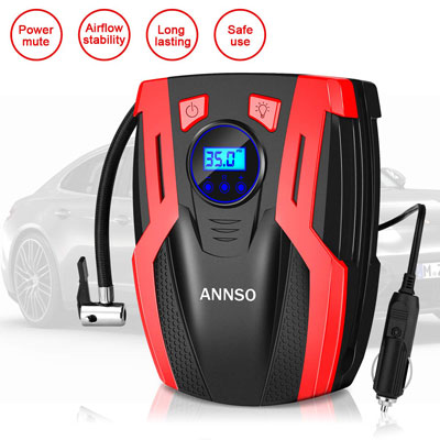 8. ANNSO Air Compressor with LED Light for Car Tires