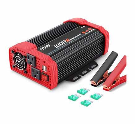 2. NDDI 1000W 12V - 110V Power Inverter AC w/Dual AC Outlets & 3.1 Quick Charging