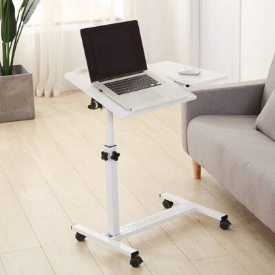 #8. TigerDad Versatile Rolling Laptop Table Desk with Wheels Adjustable Height Over Bed (White)