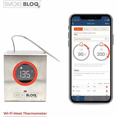 1. SmokeBloq Unlimited Range 2 Temperature Probes Wi-Fi Digital Meat Thermometer