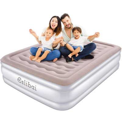 #1. Eslibai Safety Inflatable Guest Airbed Max 600lbs of Capacity Built-in Pump Air Mattress (Queen)