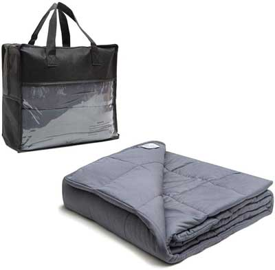 #6. huayoute Cooling Weighted Blanket 20 lbs. 60x80 inches with Premium Glass Beads