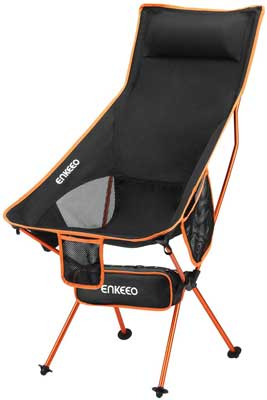 #7. ENKEEO Portable Lightweight 30 lbs. Capacity Built-in Pillow 3 Pockets Camping Folding Chair