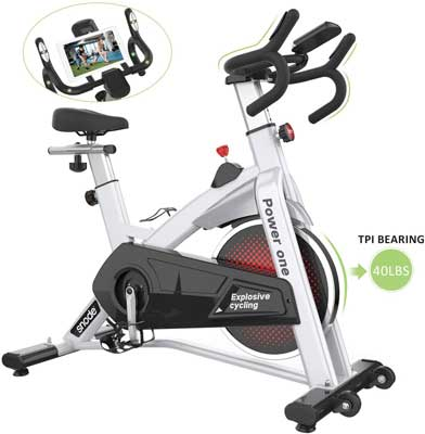 #10. SNODE Stationary LCD Monitor Spin Bike for Professional Indoor Cardio Workout