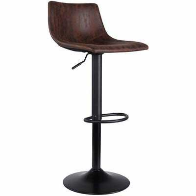 8. SUPERJARE Fabric Modern Pub Kitchen Counter Height Swivel Single Bar Stool (Retro Brown)