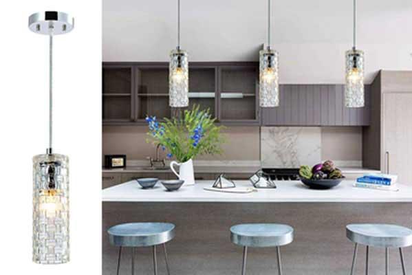 #9. PAPAYA Mini Chandelier Glass Pendant 1 Light Fixture Kitchen Island Ceiling Light