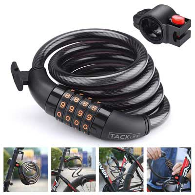 10. TACKLIFE Heavy Duty Bike Lock with a Complimentary Mounting Bracket