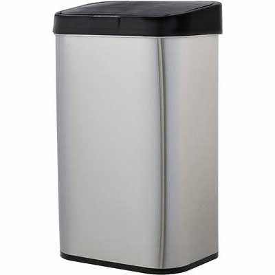 #6. AmazonBasics 60-Liter Rectangular Automatic Stainless Steel Smudge-Resistant Trash Can