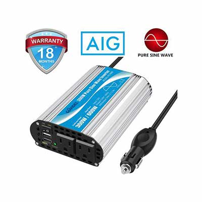 6. GIANDEL Pure Sine 300W Car Adapter Converts 12V DC to 120V AC w/4.8A Dual USB & 2AC Outlet
