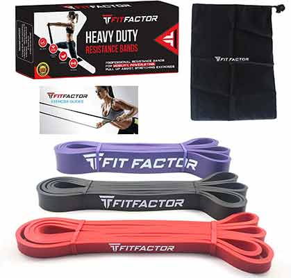 #4. FitFactor Resistance Workout Bands 3 Pack Set Pull Up Bands with carrying Bag