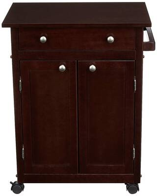 #9. AmazonBasics Classic Solid Rubber with Cabinet Wood Rolling Kitchen Sideboard Table (Espresso)