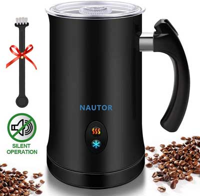 5. NAUTOR Milk Frother Hot or Cold Electric Milk Frother for Coffee, Macchiato and Cappuccino