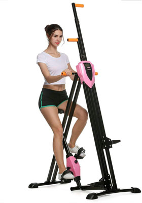 #1. ANCHEER Vertical Climber Machine for Home Gym, Home Body Trainer Folding Exerciser (pink)