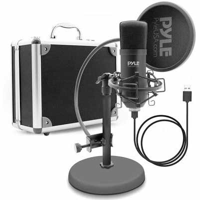 4. Pyle PDMIKT100 Audio Cardioid Condenser Mic Podcast Recording Kit w/Pop Filter & Desktop Stand