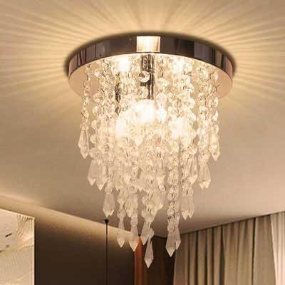 #10. Kakanuo Modern Crystal 3 Light Flush H10.4'' X W9.8'' Chandelier Ceiling Light