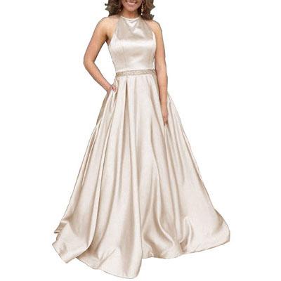 #7. YORFORMALS Women's Halter A-Line Long Bridesmaid Dress