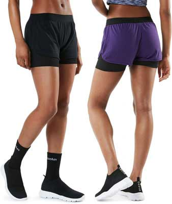 #9. TSLA Active Performance Yoga Quick-Dry Pack of 1, 2 Women's Shorts