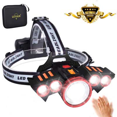 5. LETOUR LED Headlamps with 5 LEDs - Rechargeable and Zoomable For Camping