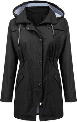 #6. LOMON Long Hooded Raincoat Women Trench Coats Windbreaker Travel Jacket