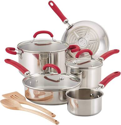 #2. Rachael Ray Create Delicious Cookware Pots and Pans Set