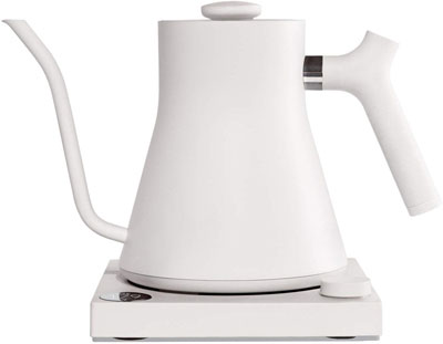 #1. Stagg EKG 1200W Brew Stopwatch Variable Temperature Electric Pour-Over Kettle (Matte White)