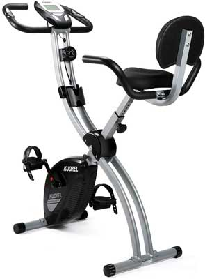 #9. KUOKEL Upright Folding Magnetic with Adjustable Seat Height Indoor Exercise Bike
