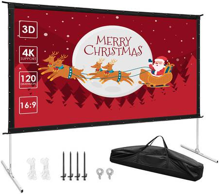 #7. TUSY 120 inches 4K HD Projector Screen with Stand for Home Theater and Camping
