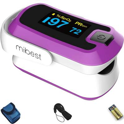 #5. MIBEST Purple Dual Color OLED O2 Saturation Monitor Blood Oxygen Finger Pulse Oximeter