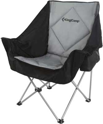 #2. KingCamp Folding Sofa with Padded Seat Cooler Bag & Armrest Cup Holder Oversized Camping Chair