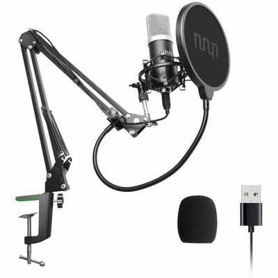 7. UHURU Professional PC Streaming Pop Filter & Windscreen USB Podcast Condenser Microphone