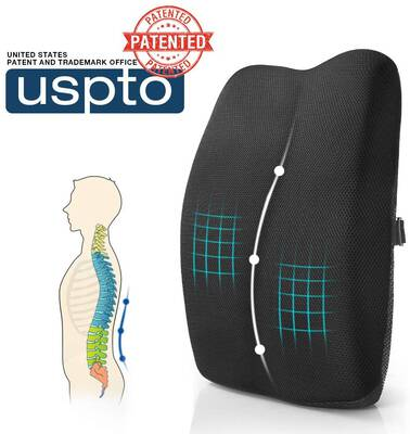 #9. Mkicesky Memory Foam Back Support Pillow w/Full Posture Corrector for Chair (Black)