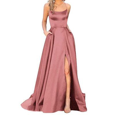 #2. JASY Women's Spaghetti Satin Long Bridesmaid Dress