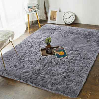 #10. AND BEYOND INC Soft Bedroom Rugs Rug for Living Room, Grey