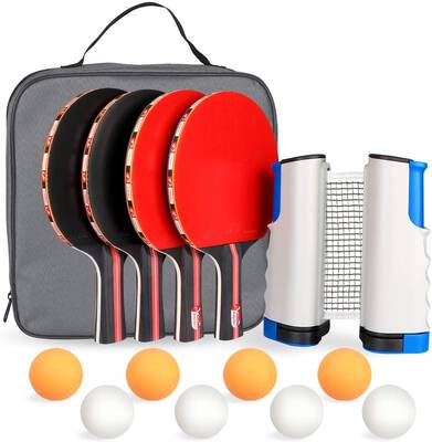 #10. Fostoy Ping Pong Paddle Set with a Retractable Net