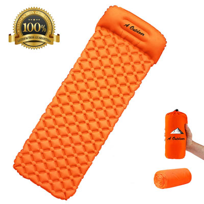 Overmont TPU Large Sleeping Pad with Pillow Built-in Pump Mat Ultralight Inflatable Camping Air Mattress for Backpacking Hiking Car Travel Lightweight Waterproof Compact with Carrying Bag,Orange