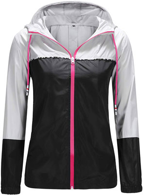 #9. UUANG Lightweight Packable Women's Jacket Hooded Waterproof Windbreaker
