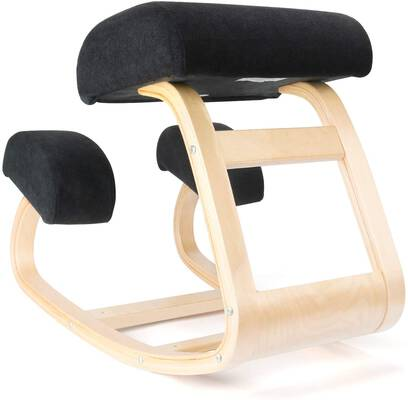 #10. EXERCISE N PLAY Balans Posture Ergonomic Kneeling Chair for Office & Home (Light Wood)