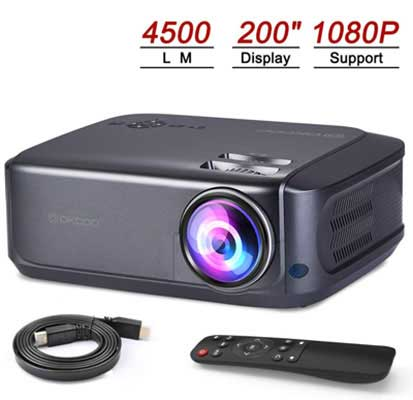 #2. OKCOO Full HD 1080P 4500 LM 200 Inches Display for Presentation Mini Video Projector