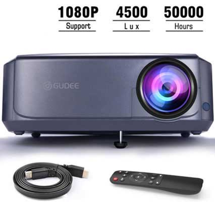 #3. GuDee Full HD Video Projector 1080P for Laptop, Smartphone, HDMI, USB& Fire TV Stick