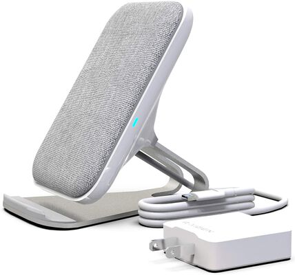 10. RAIGEN 7.5W Fast Charge Modern Fabric Wireless Charging Stand (Light Grey)