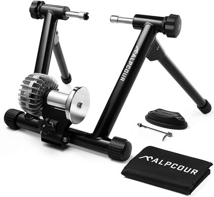 4. Alpcour Stainless Steel Portable Bike Trainer Stand with Dual Lock System for Road Bikes