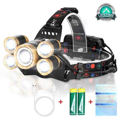 2. Aoglenic Rechargeable Headlamp Flashlight with a brightness of 12000 Lumen