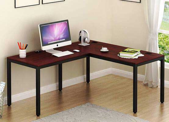 #9. SHW 55'' x 60'' Large Steel Frame L-Shaped Corner Home Office Computer Desk (Black Cherry)