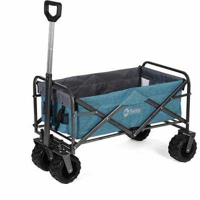 6. SEKEY Light Blue 176lbs All-Terrain Wheels Utility Wagon Collapsible Outdoor Folding Wagon