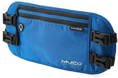 #6. MUCO RFID Blocking Hidden Passport Holder Travel Nylon Wallet Belt for Men & Women