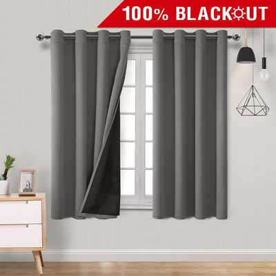 6. Homedocr Grey Double Layer 100 Percent 2 Drape Panels Blackout Curtains