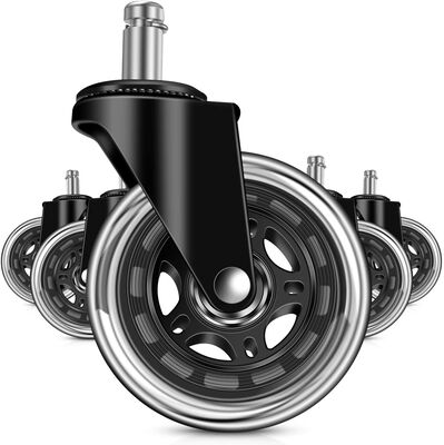 7. Moston Universal Fit Rubber Office Chair Wheels Replacement with Rollerblade Style