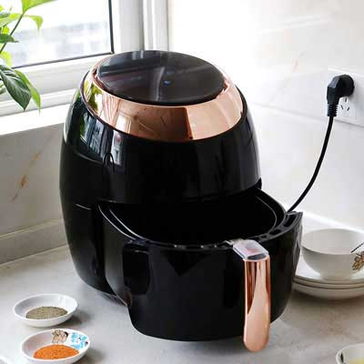 #4. Linsion 5.8 Quart Oil-less Cooker with Non-Stick Digital Electric Hot Air Fryer (gold/black)